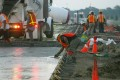 construction, sitework, preparation, concrete, cement truck, pour, trowel, form