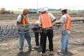 construction, sitework, preparation, work crew, tying pier steel
